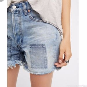 Free People Patch Denim Shorts